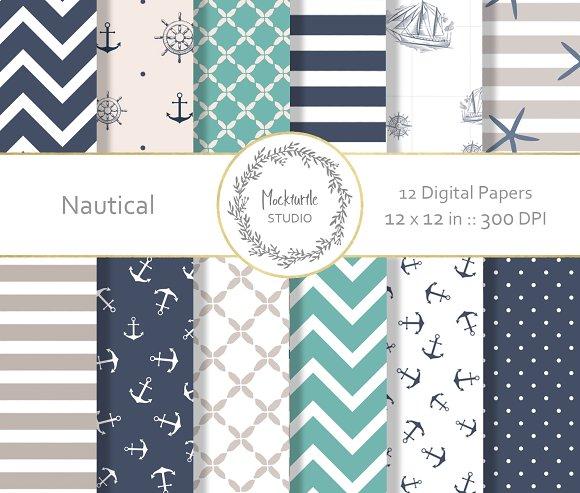 Nautical digital paper - dark