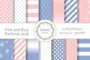 Pink and Blue digital paper