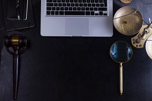 Workspace hero header with law gavel