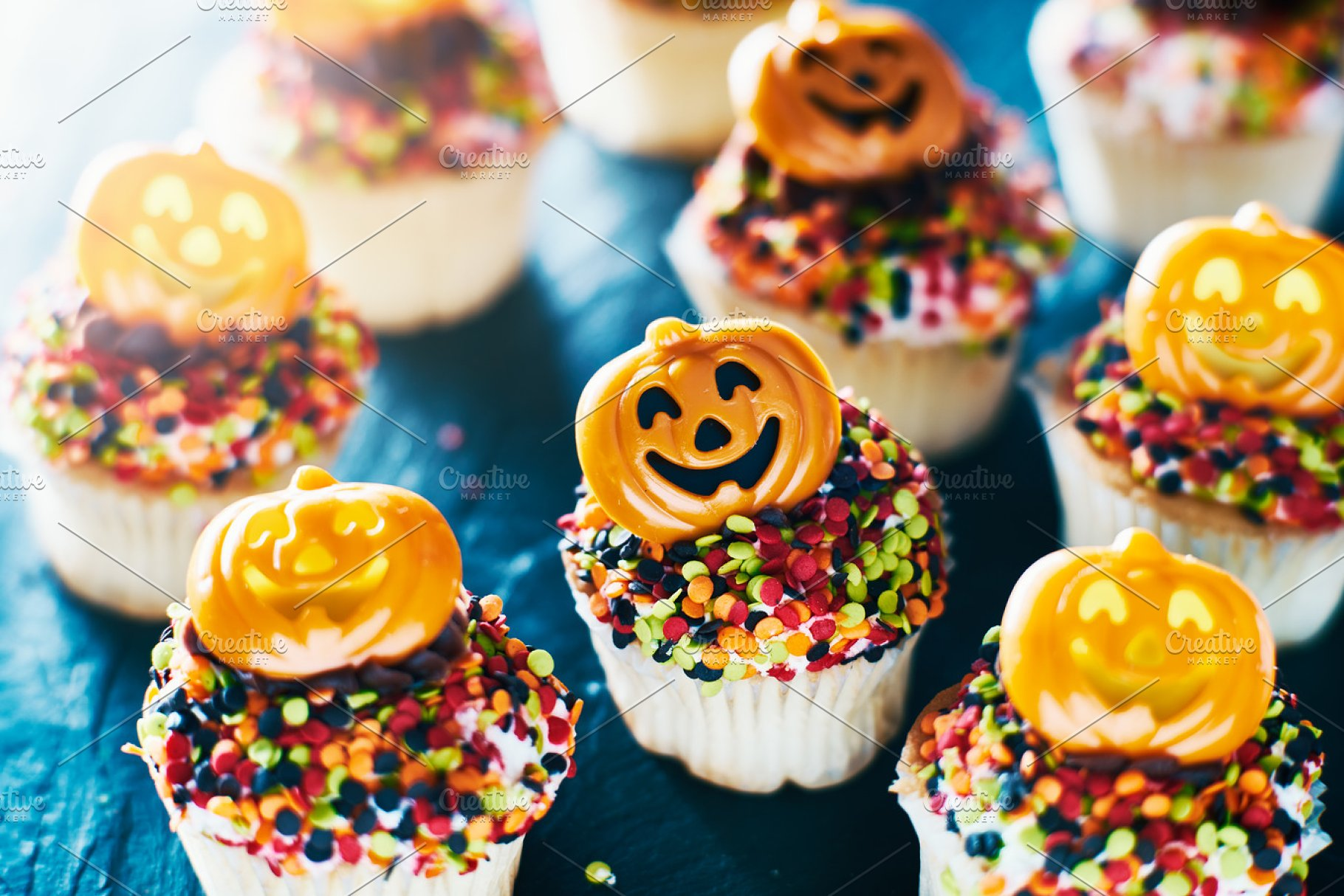 Spooky Pumpkin Halloween Cupcakes High Quality Food Images