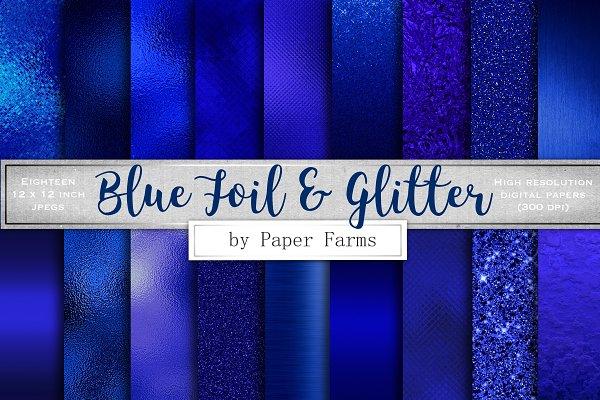 Blue foil and glitter