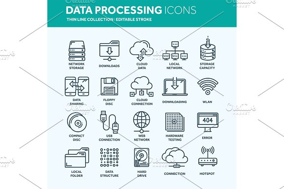 Cloud Omputing Internet Technology Online Services Data Processing Information Security Connection Thin Line Web Icon Set Outline Icons Collection.Vector Illustration