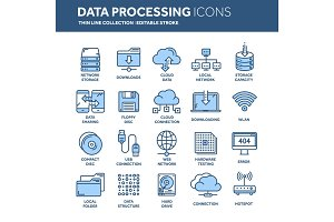 Cloud omputing. Internet technology. Online services. Data processing, information security. Connection. Thin line web icon set. Outline icons collection.Vector illustration.