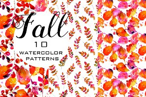 Fall watercolor seamless patterns