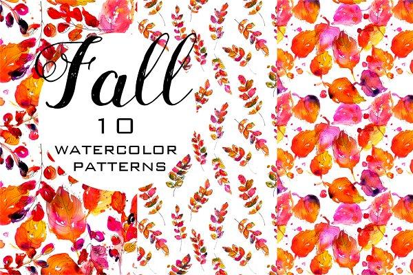 Fall watercolor seamless patterns