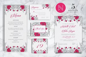 Pink Floral Wedding Invitation Set