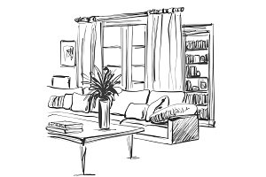 Hand drawn sketch of modern living room interior with a sofa, pillows, table, bookshelf and pictures.