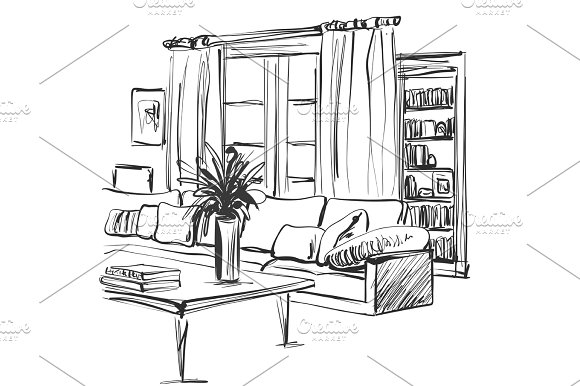 Hand Drawn Sketch Of Modern Living Room Interior With A Sofa Pillows Table Bookshelf And Pictures