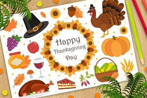 Happy Thanksgiving Day icon set, flat, cartoon style. Harvest festival collection design elements with turkey, pumpkin, pilgrim hat, pie, vegetables, fruits. Autumn holiday season. Vector illustration