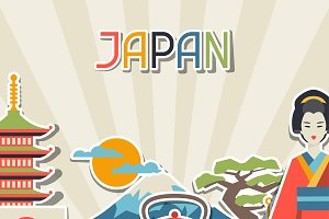 Japan sticker backgrounds.