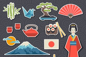 Japan stickers and patterns.