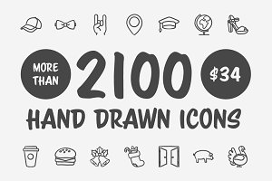2100 Hand drawn vector icons