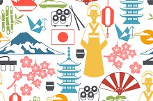 Japan icons and patterns.