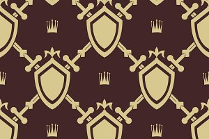 Sword and shield seamless pattern