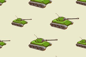 Military tank seamless pattern