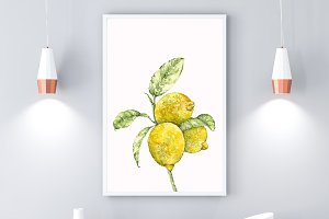 Lemons Watercolor Poster, Digital