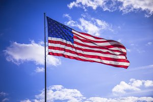 American flag and blue sky