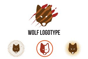 4 Wolf Head with Claw Marks Logo