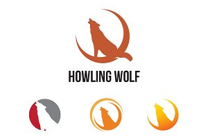 4 Wolf Howling at the Crescent Moon