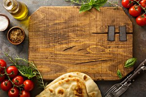 Food background with cutting board