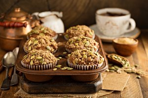Healthy pumpkin muffins with seeds