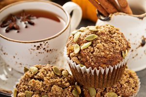 Healthy pumpkin muffins with tea and spices