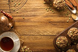 Healthy pumpkin muffins with seeds fall background