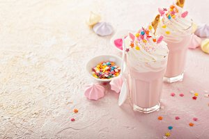 Unicorn milkshakes with sprinkles