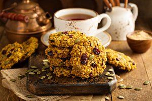 Breakfast cookies with pumpkin puree, cranberry and seeds