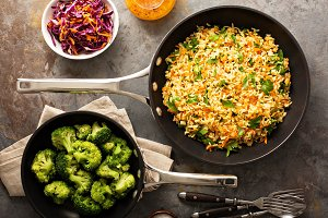 Fried rice with vegetables and steamed broccoli