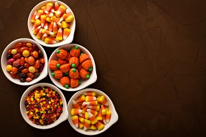 Halloween candy in white bowls