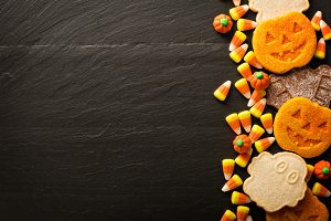 Halloween pumpkin cookies and candy
