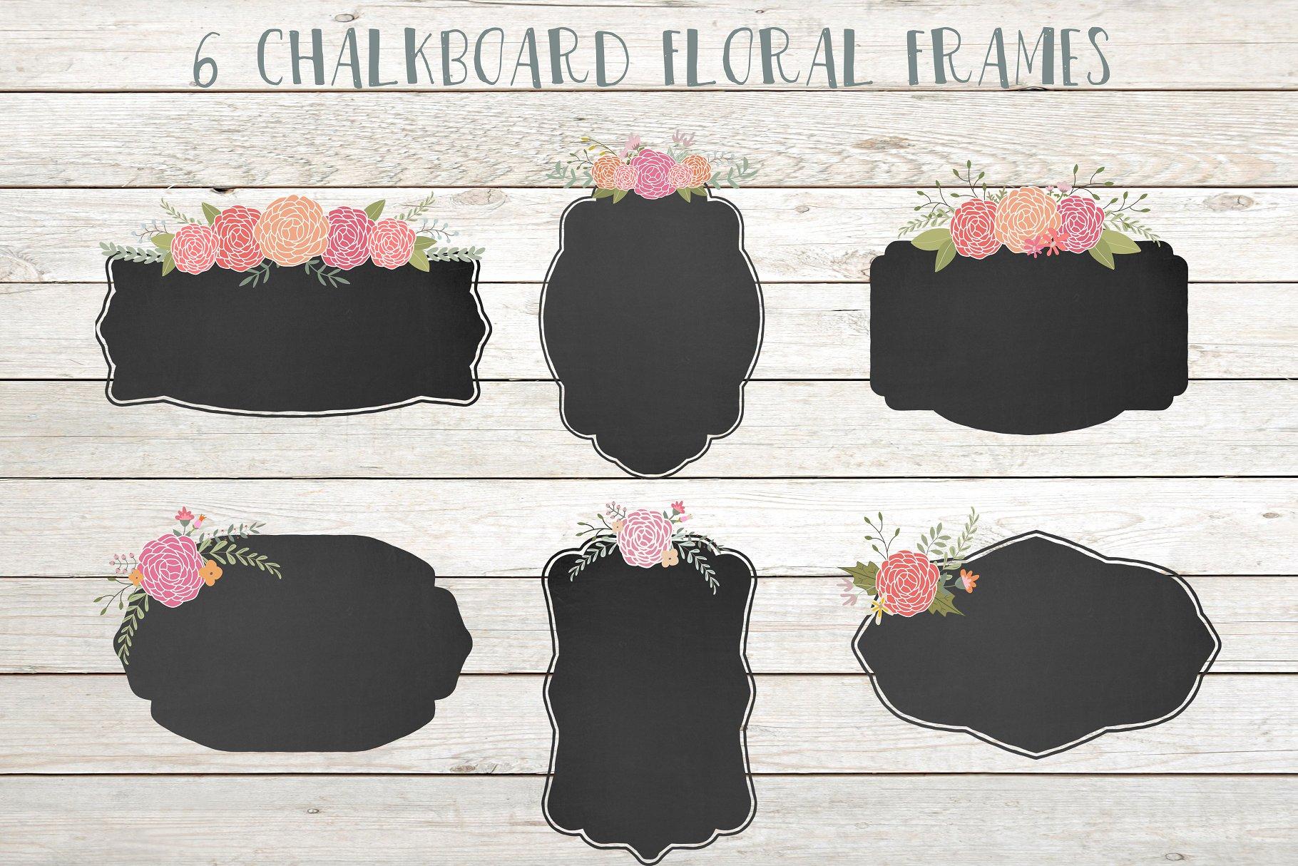 Chalkboard floral frames clip art - Illustrations | Creative Market Pro