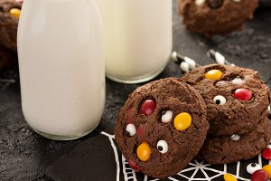 Chocolate monster cookies homemade treats for Halloween