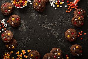 Chocolate monster cookies homemade treats for Halloween