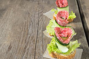 Canape with salami, cucumber and sal