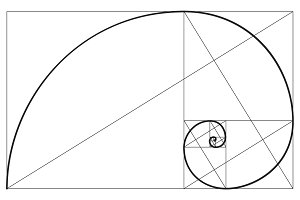 Golden ratio spiral symbol