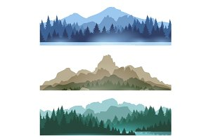 Foggy mountains landscape set