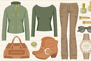 Fashion set with jeans and a jacket