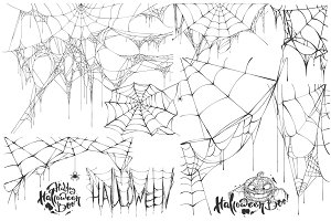 Set of spider web for Halloween