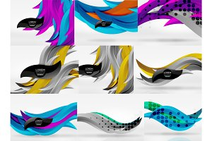 Set of vector 3d wave line abstract backgrounds