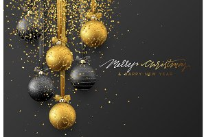 Christmas greeting card, design of xmas balls with golden glitter confetti on dark background