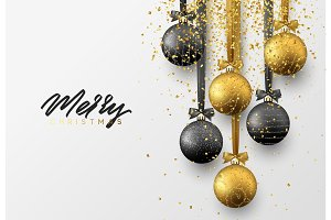 Christmas greeting card, design of xmas balls with golden glitter confetti