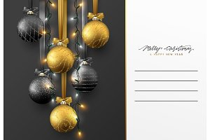 Christmas greeting card, design of xmas ball with realistic garlands on dark background