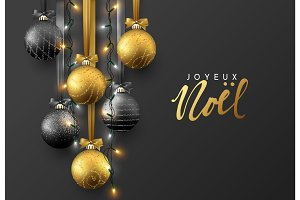 Joyeux Noel. Christmas greeting card, design of xmas ball with realistic garlands on dark background