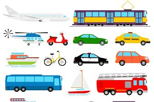 Urban transport colored illustration