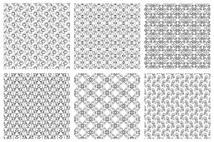 Damask oriental seamless pattern set