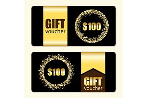 Set of festive luxury gift voucher templates with glamour golden glitter confetti