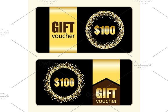 Set Of Festive Luxury Gift Voucher Templates With Glamour Golden