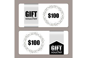 Set of festive luxury gift voucher templates with glamour silver glitter confetti